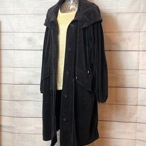 Spiegel Long Black Velour Coat